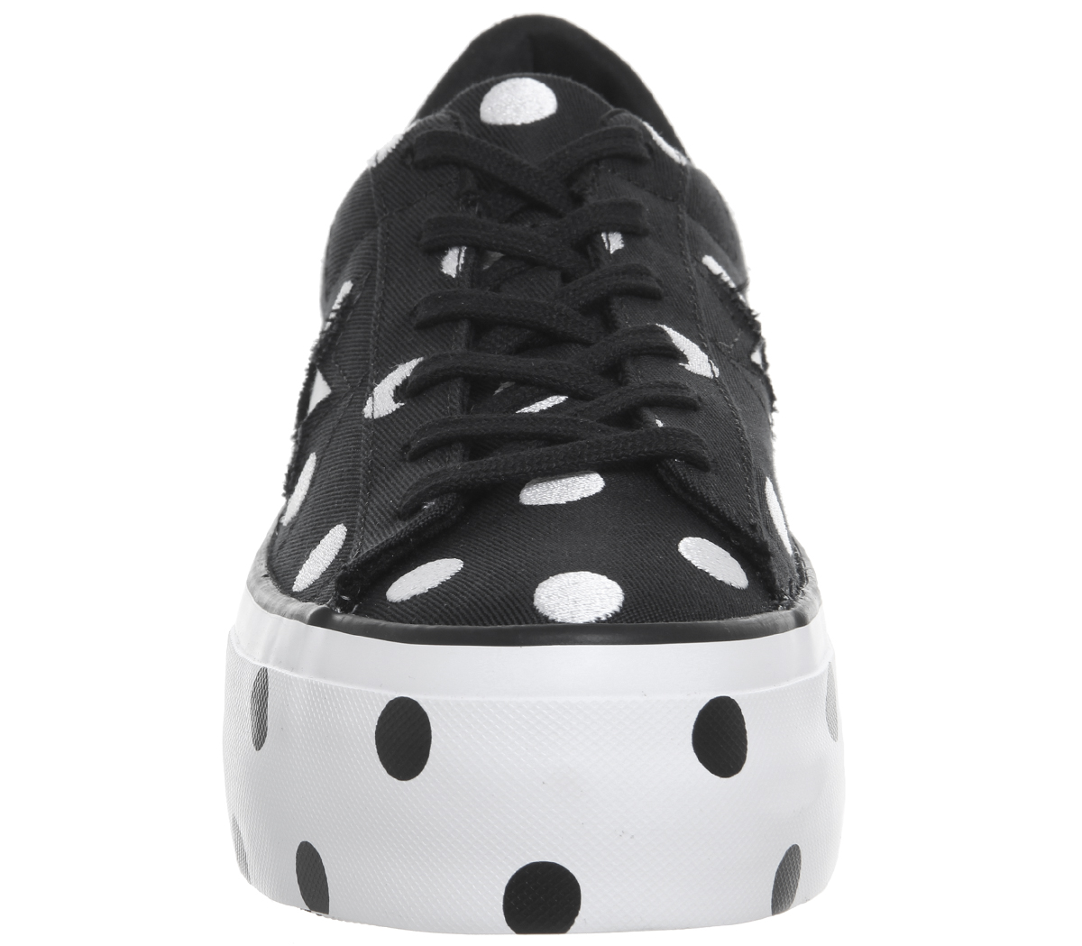 Womens BLACK Converse One Star Platforms BLACK Womens WHITE WHITE POLKA Trainers Shoes 67a4a4