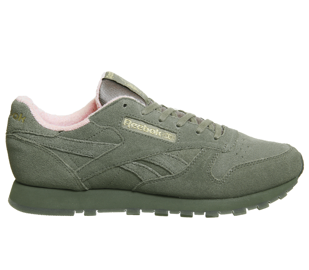 Sentinel Womens Reebok Cl Leather Trainers Hunter Green Pink Trainers Shoes 8b218b4690a9