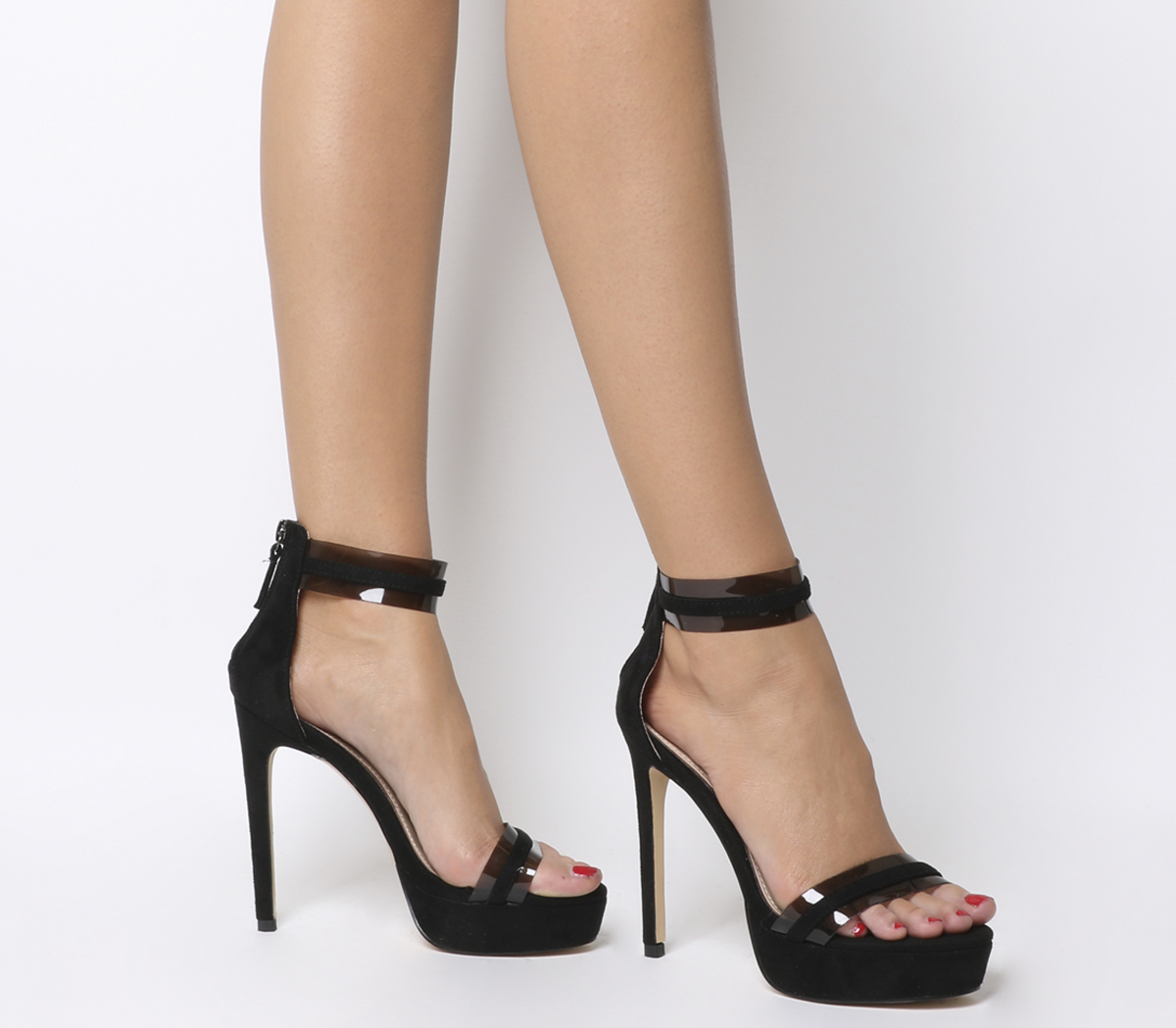 Sentinel Womens Office Harleigh Two Part Platform Heels Black With Clear  Heels