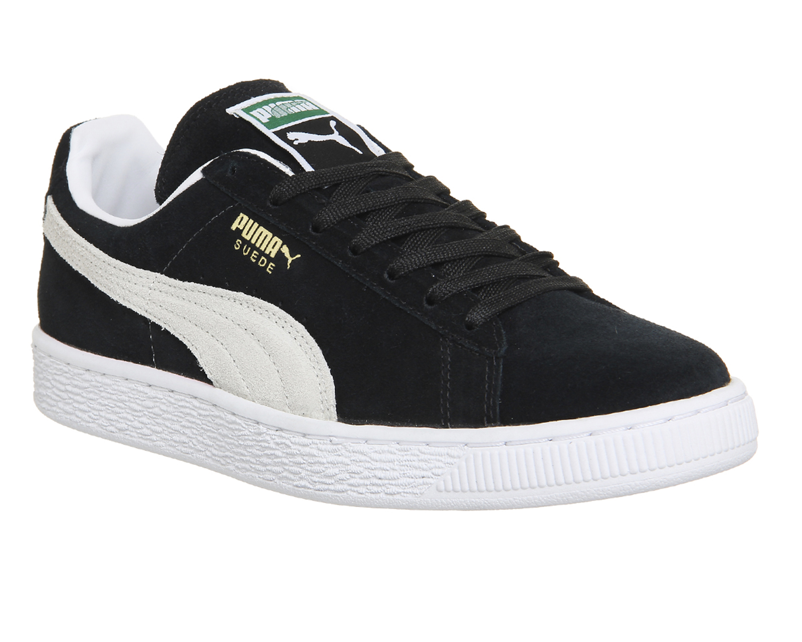 Mens-Puma-Suede-Classic-BLACK-WHITE-Trainers-Shoes