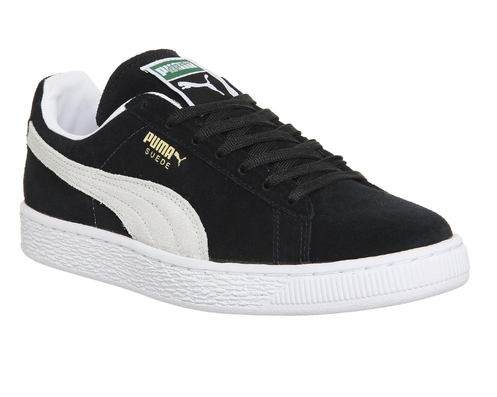 Puma Para Hombre De Ante Clásico Negro Blanco Zapatillas Zapatos  17ba4db64
