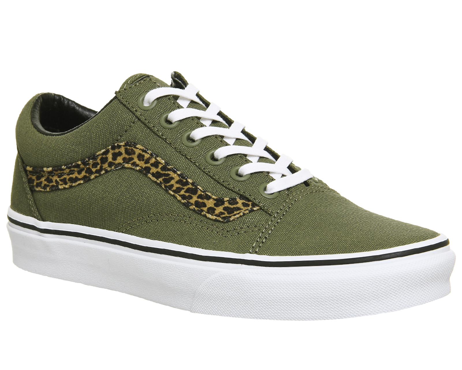 61ff645c740a37 Sentinel Womens Vans Old Skool Trainers MINI LEOPARD ARMY GREEN WHITE  Trainers Shoes