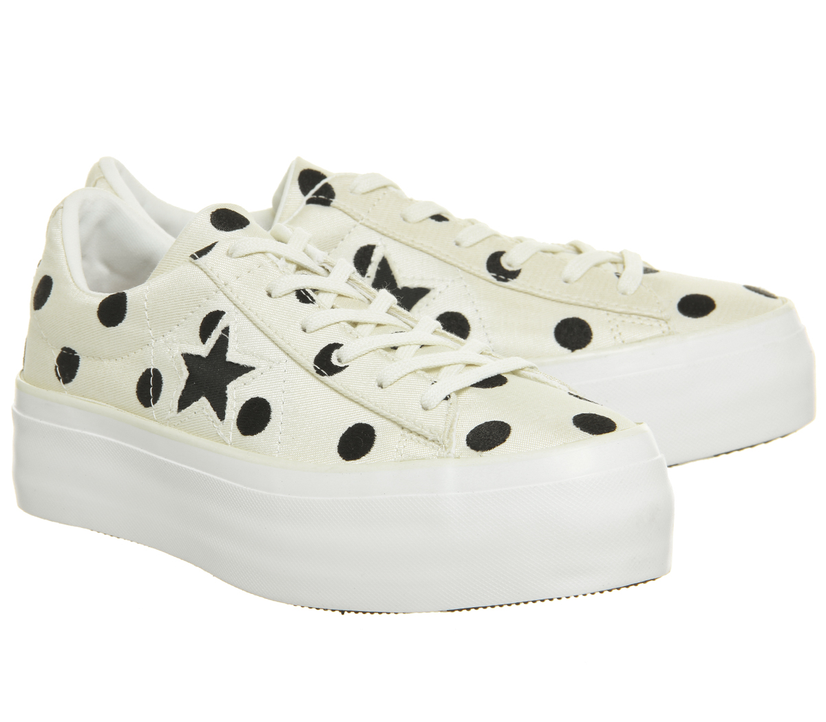 Womens Converse One Star Platforms EGRET Shoes BLACK WHITE POLKA Trainers Shoes EGRET 386fc7