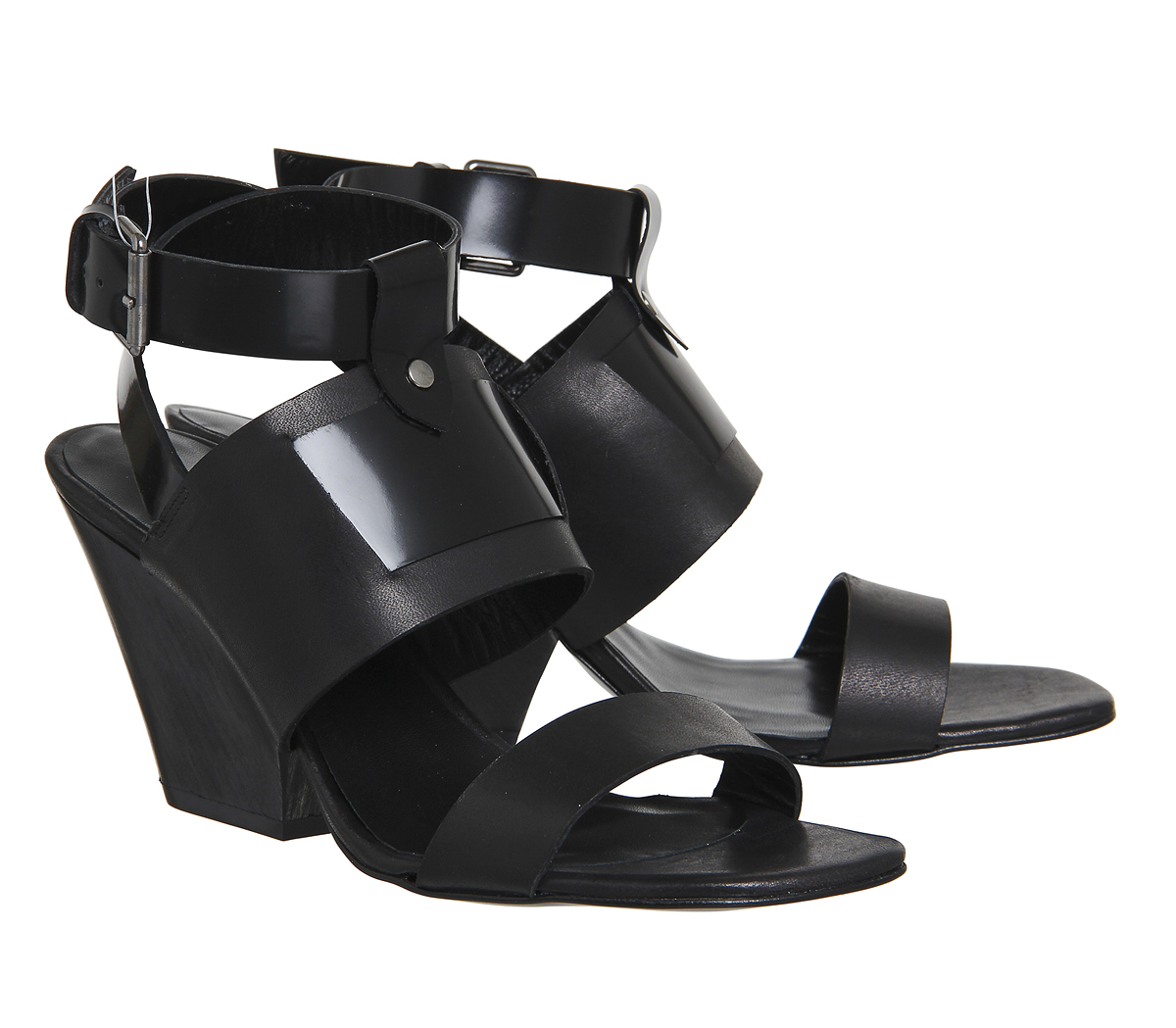 Leather Block Black Nyla Poste Womens Mistress Heel Sandals Wood twxg0xZq6