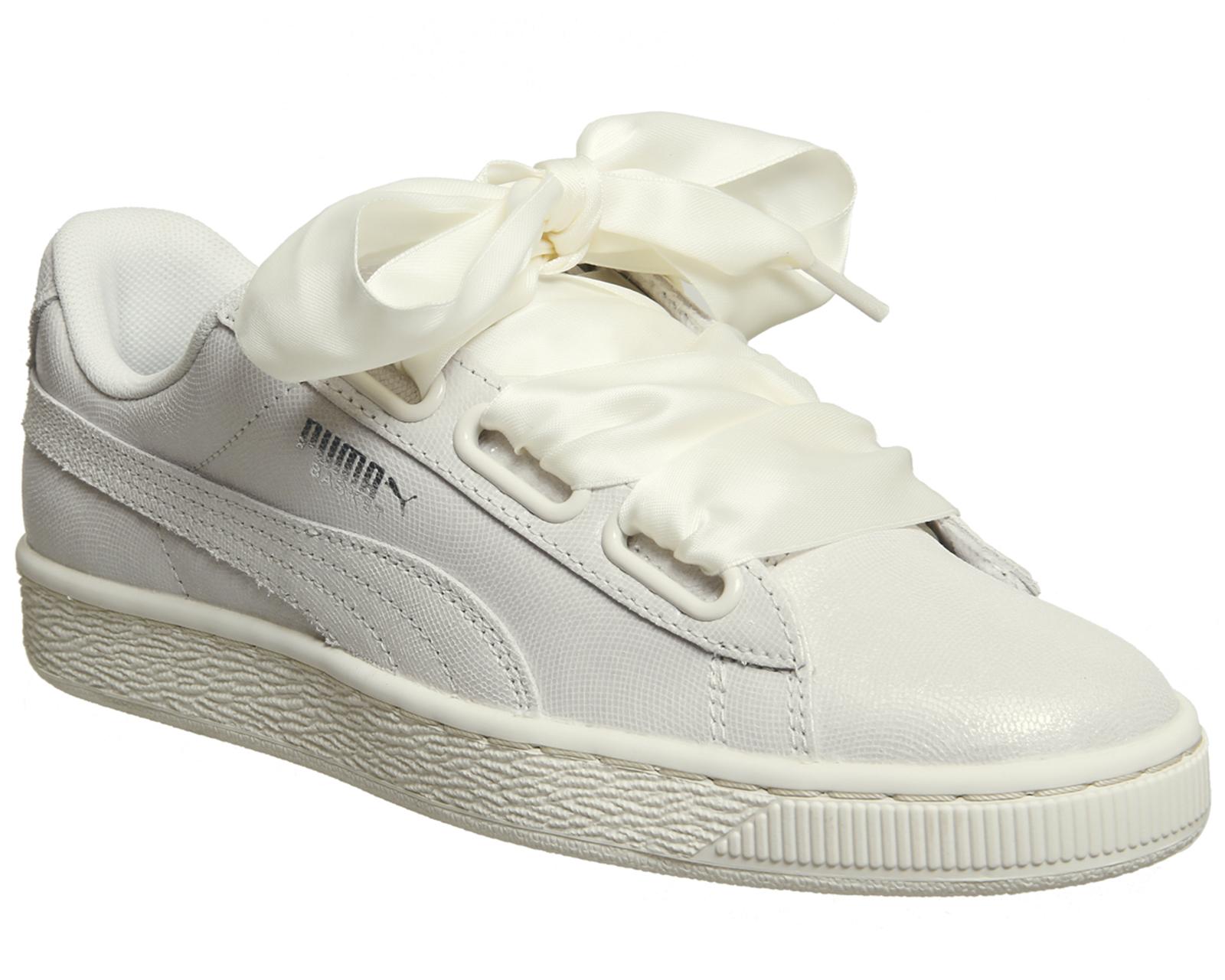 White Shoes Shine Womens Ebay Trainers Heart Puma Basket qwYI4v