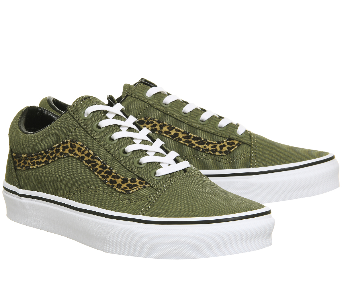 3e08f321066 Womens Vans Old Skool Trainers MINI LEOPARD ARMY GREEN WHITE ...