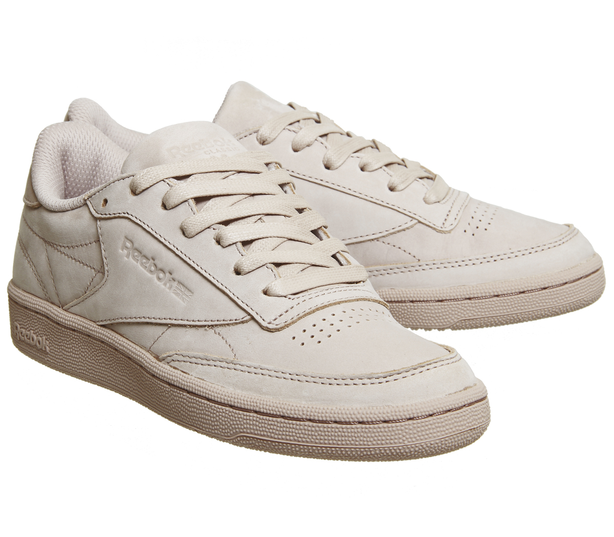 Reebok Club C 85 Shell Pink Gold Trainers Shoes  504ca8483