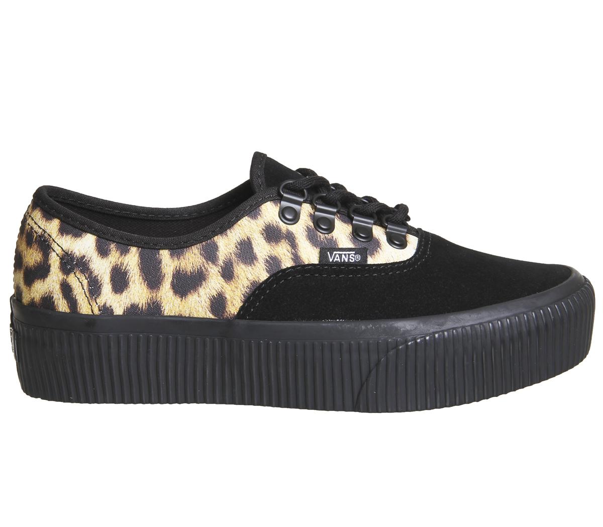 7930b9bde61 Womens Vans Authentic Platform Trainers BLACK LEOPARD Trainers Shoes ...
