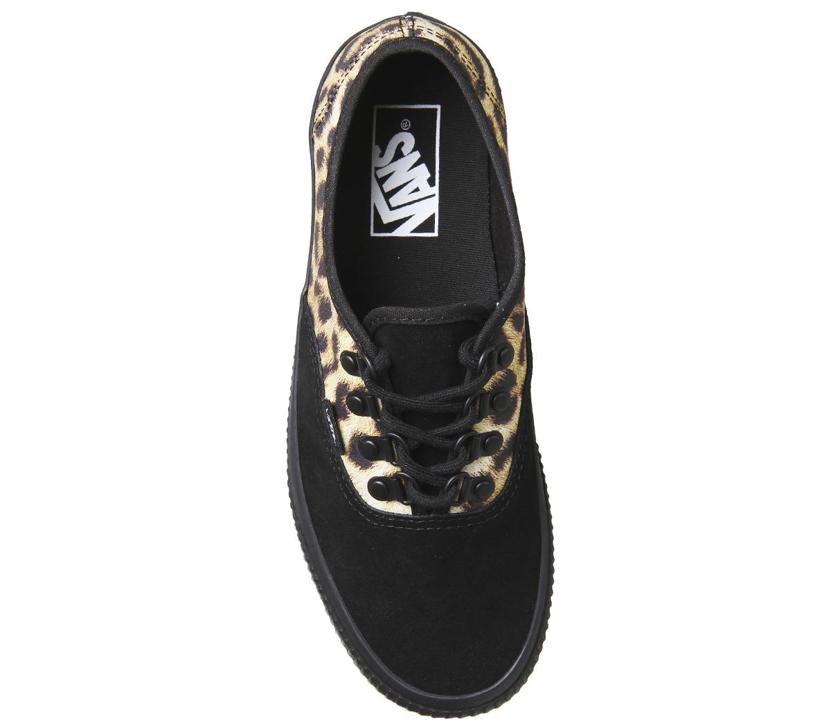 74b6788b6f5 Womens Vans Authentic Platform Trainers BLACK LEOPARD Trainers Shoes ...