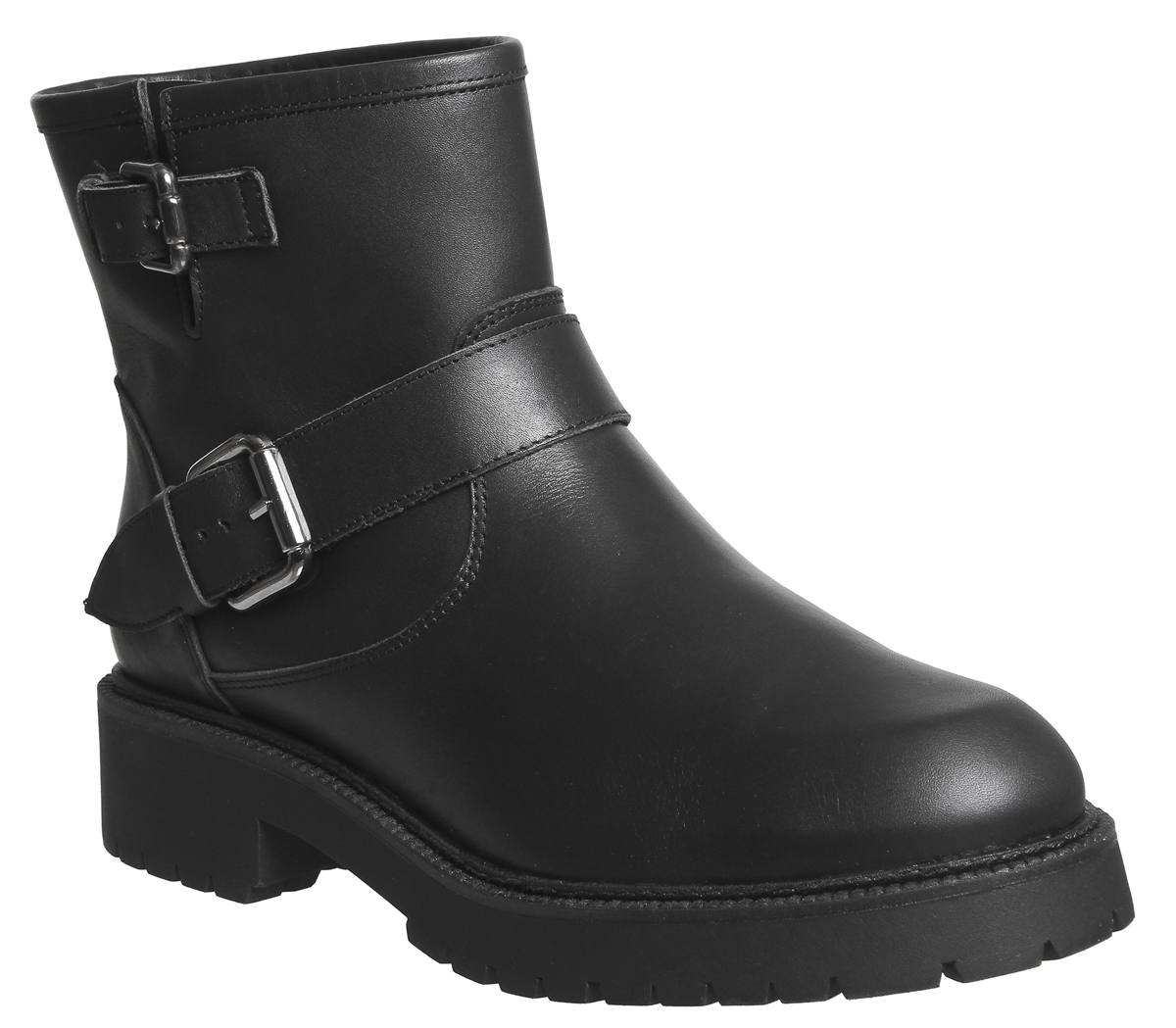 Womens Office Amery Buckle Biker Boots Black Leather