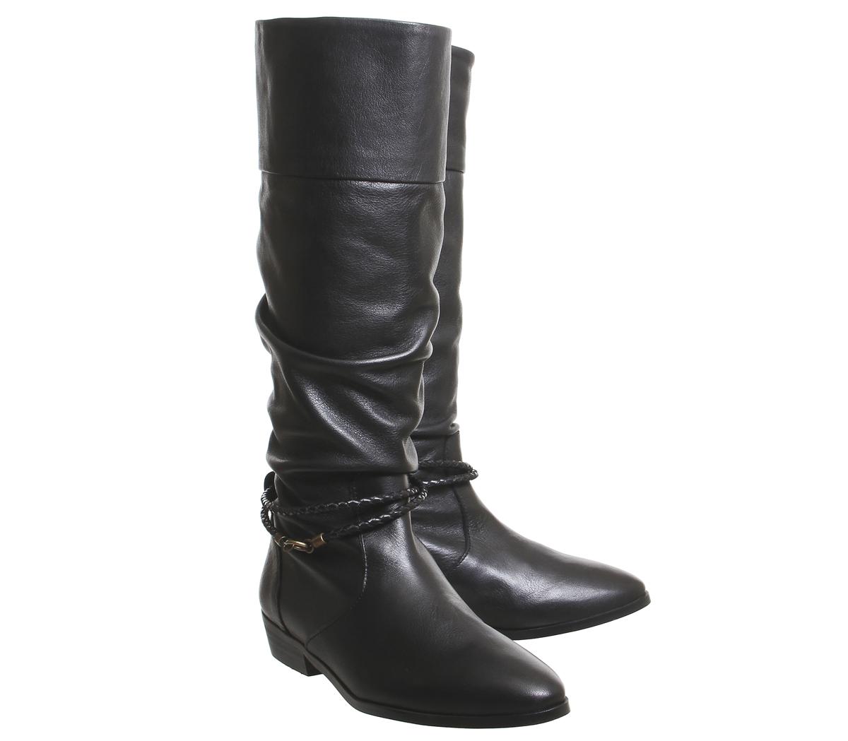 Damenschuhe Office Kassie Vintage Stiefel Ruched Knee Stiefel Vintage BLACK LEATHER Stiefel bf627e
