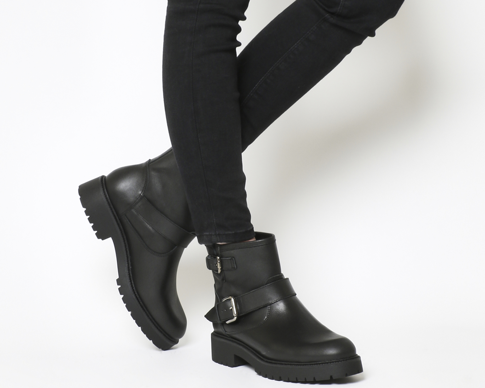 4a2cb2a79c3 Details about Womens Office Amery Buckle Biker Boots Black Leather Gunmetal  Boots