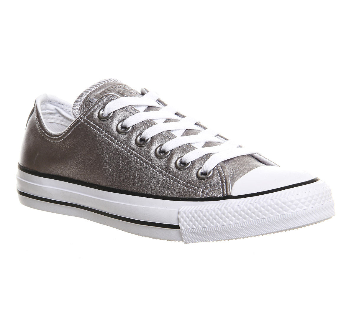 b3c80c1750b9 Sentinel Converse All Star Low Leather New Silver Exclusive Trainers Shoes.  Sentinel Thumbnail 2