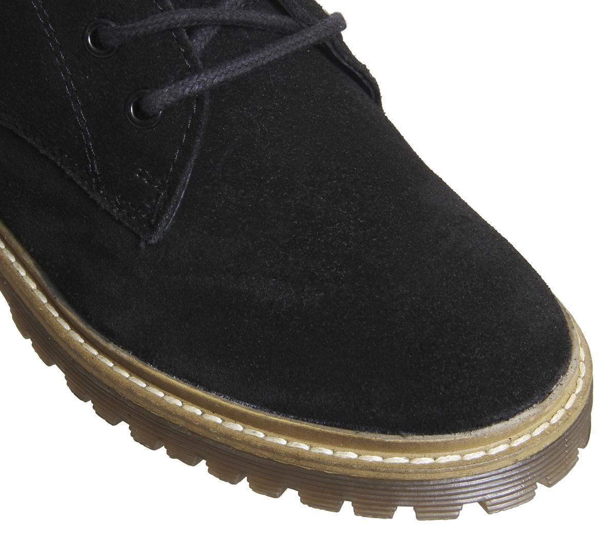 Da Donna Ufficio coste Aston a coste Ufficio Suola Lacci Stivali neri in pelle scamosciata 74d9de