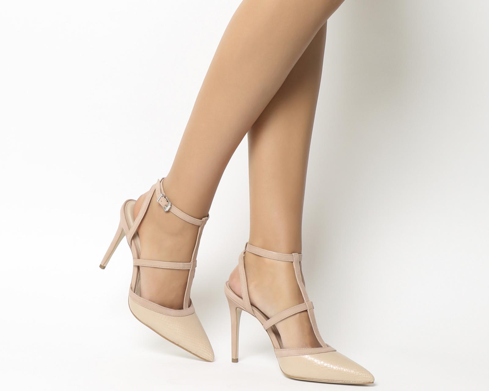 c3d5fc0dd0b Sentinel Womens Office Hey Hey T Bar Point Court Heels Nude Nubuck Natural  Snake Heels