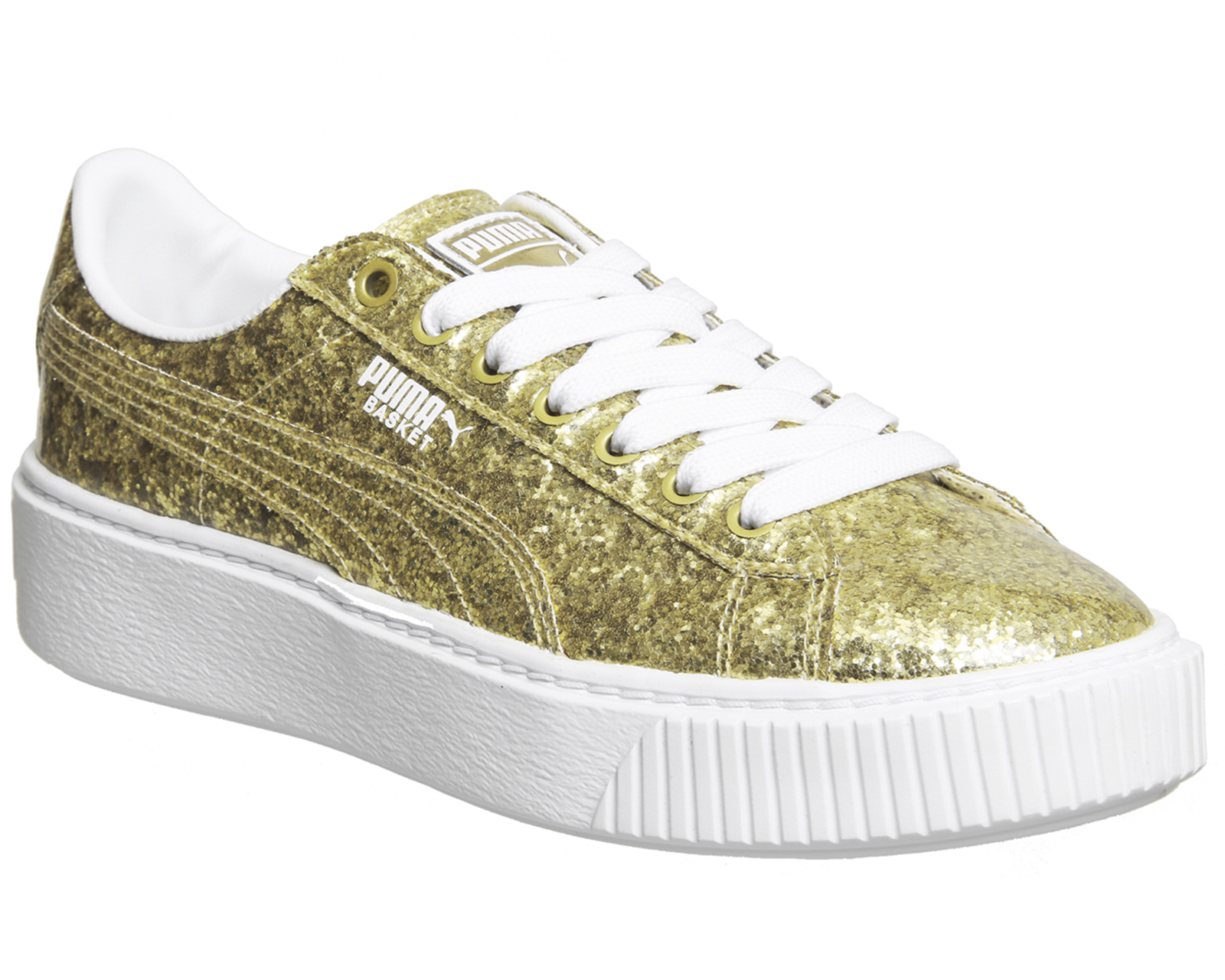 5dc00bb8279 Sentinel Womens Puma Basket Platform Trainers Gold Glitter White Trainers  Shoes
