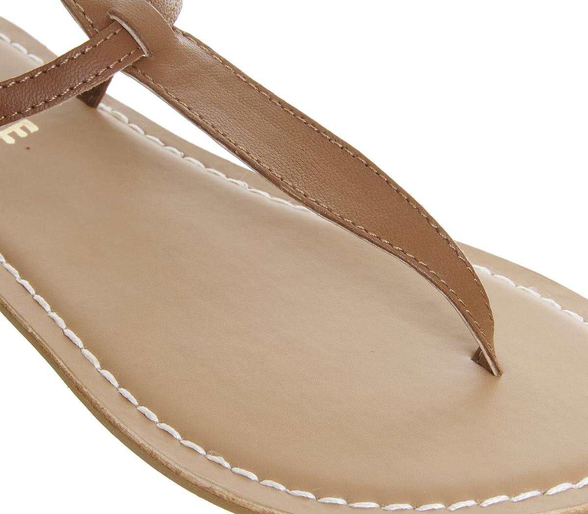 d41f6552bef6 Womens Office Samba Toe Post Sandals Tan Leather Sandals