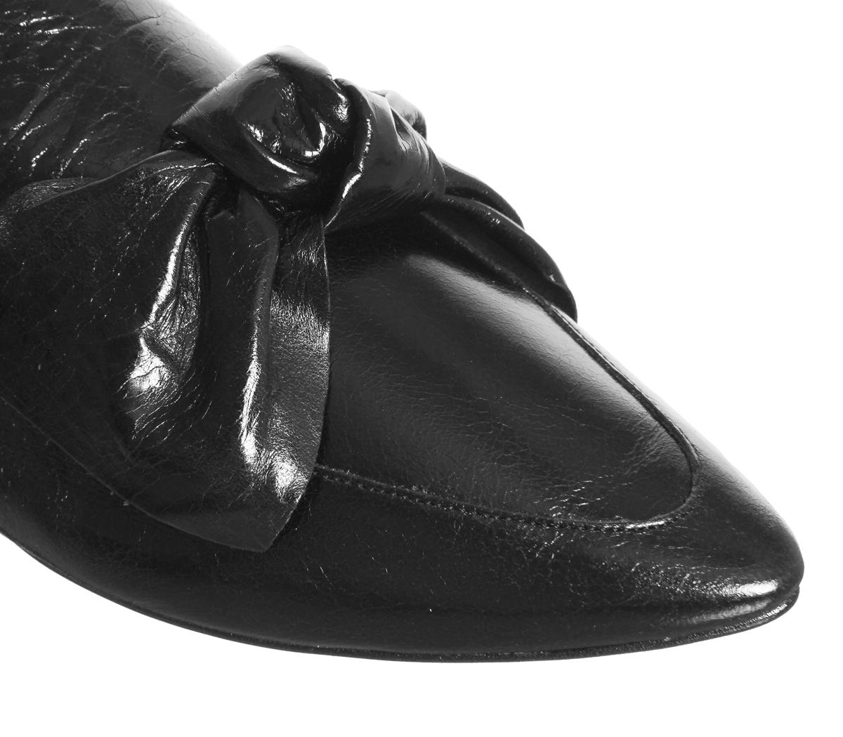Arco de de de punto para mujer Semana de la moda de Oficina de Cuero Negro Tacón Bajo Mulas a6eac6