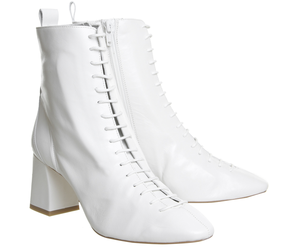 6af2e9a77e7 Sentinel Womens Office Aloha Lace Up Mid Block Boots Off White Leather Boots