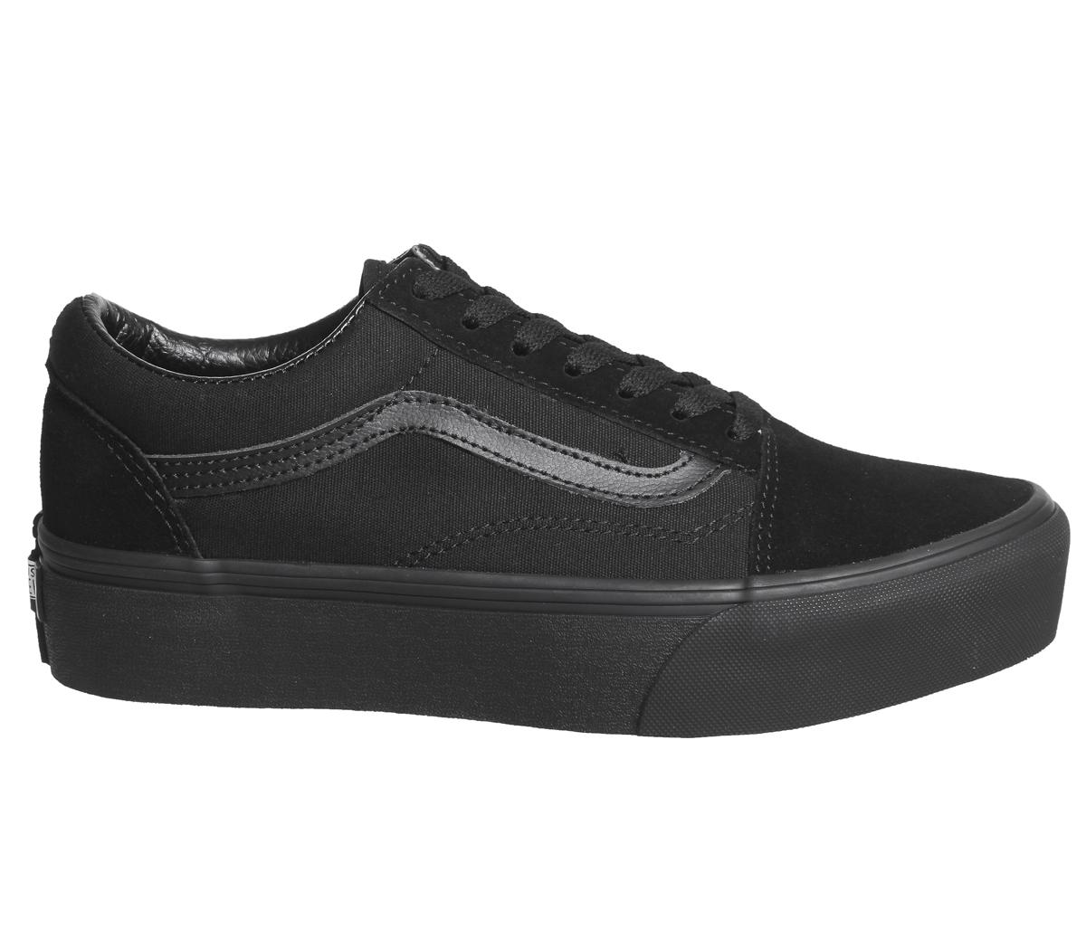 aeac7eaa1a7ab CENTINELA Plataformas de mujer Vans Old Skool negras zapatillas zapatos
