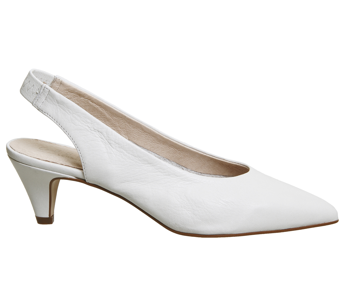 Womens Office Madeleine Softy OFF Slingback Heels OFF Softy WHITE LEATHER Heels 62771a