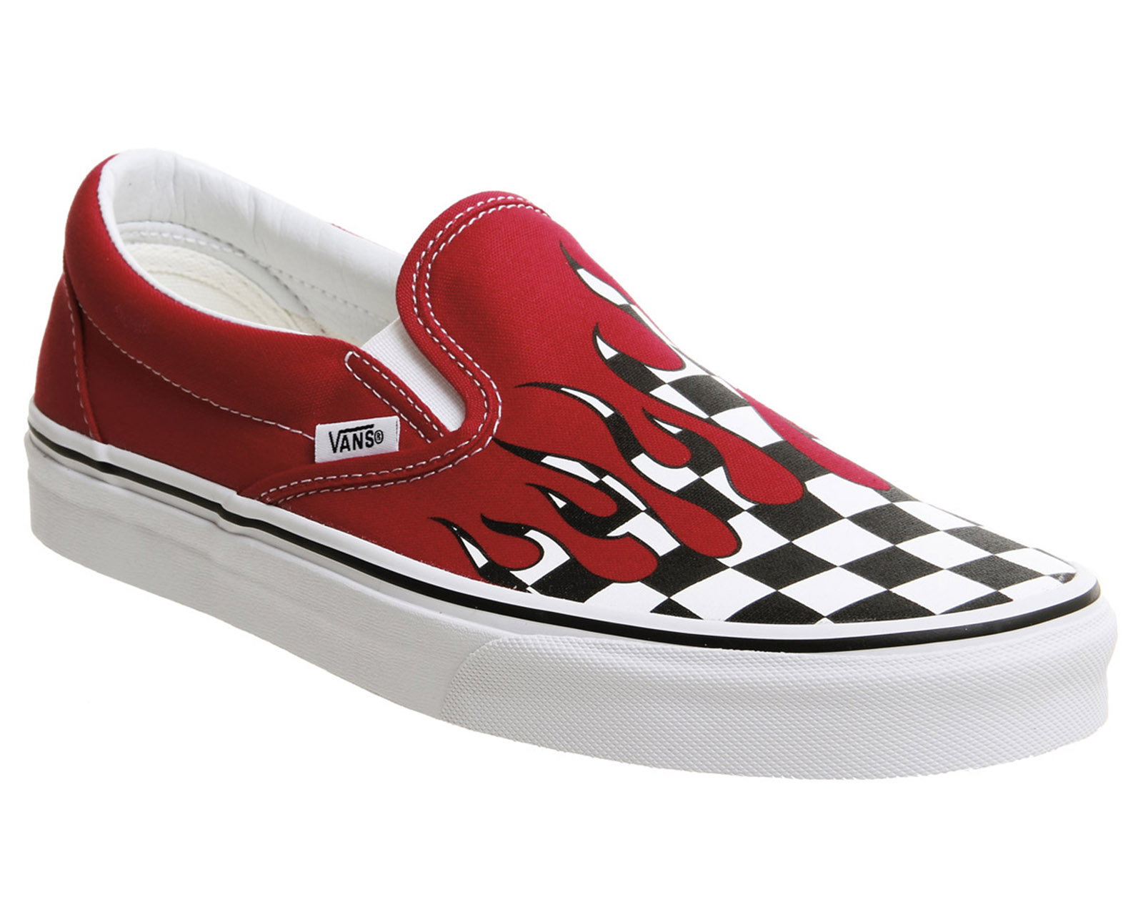 5fe7ecca8e45 Sentinel Mens Vans Vans Classic Slip On Trainers Racing Red Checkerboard  Flame Trainers S