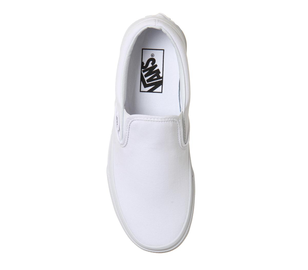 Mens Classic Vans Classic Mens Slip On Trainers WHITE MONO Trainers Shoes 7d225e