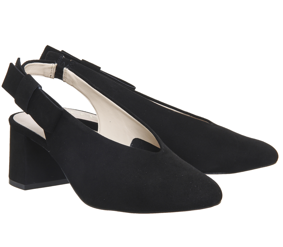 Womens-Office-Magical-Bow-Slingback-Heels-Black-Suede-Heels thumbnail 9