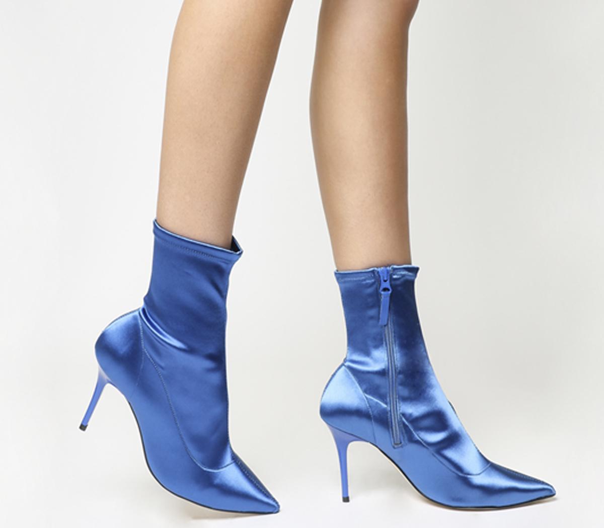 vasta selezione di 8495f 79fef Dettagli su Donna Office Afrodite Dressy Stivali Stretch Raso Blu Stivali  Stretch