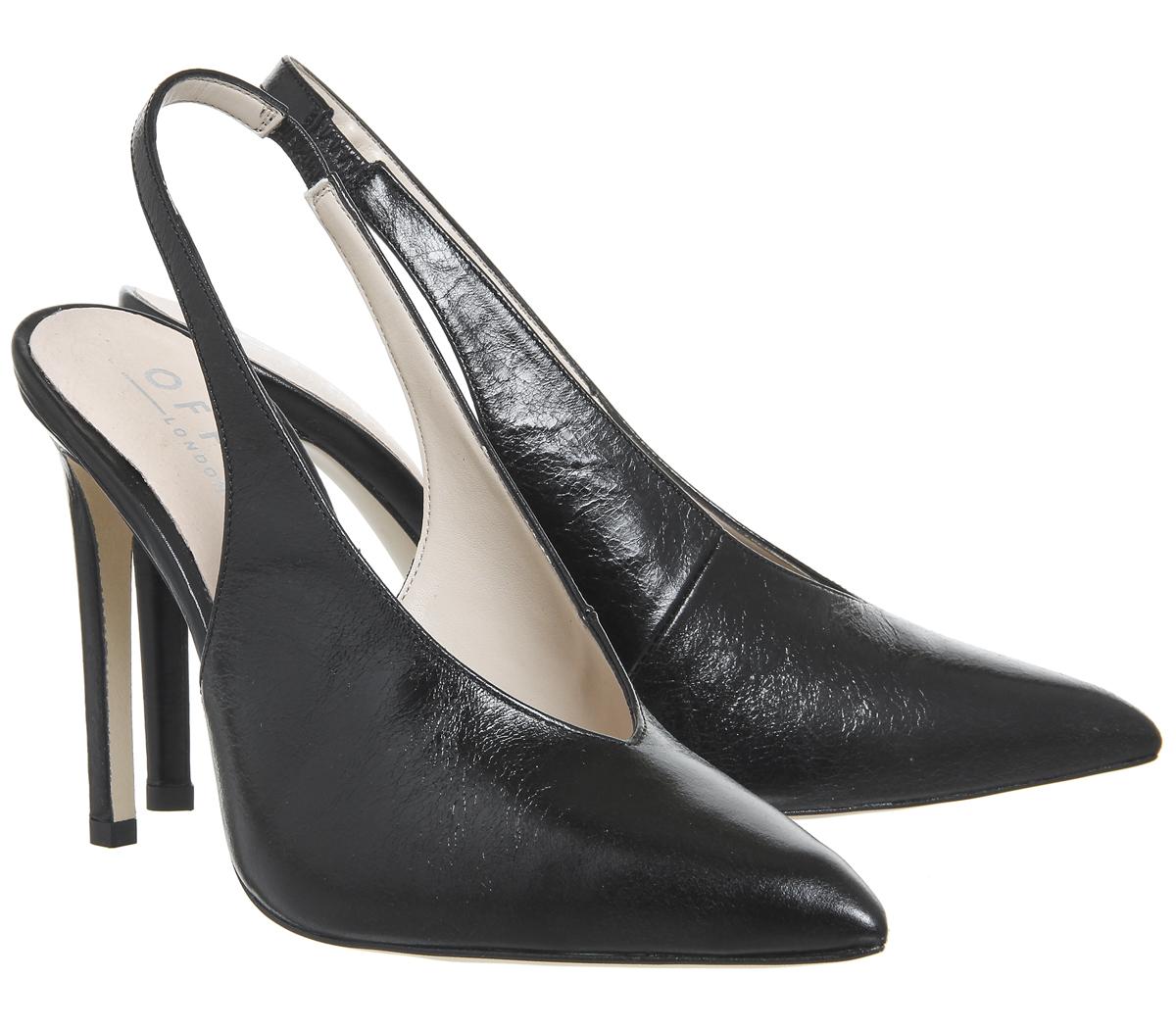 Damenschuhe Office Hix Slingback LEATHER Point Court Heels BLACK LEATHER Slingback Heels 17e40d