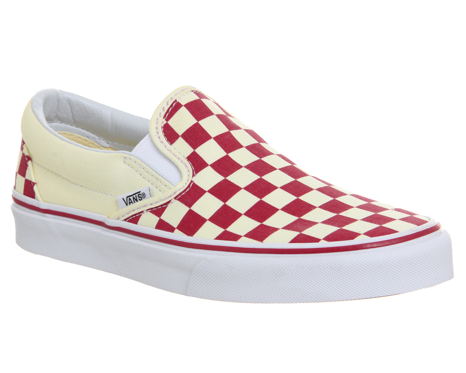 92239fe3e483 Sentinel Mens Vans Classic Slip On Trainers RACING RED CLASSIC WHITE  CHECKERBOARD Trainer