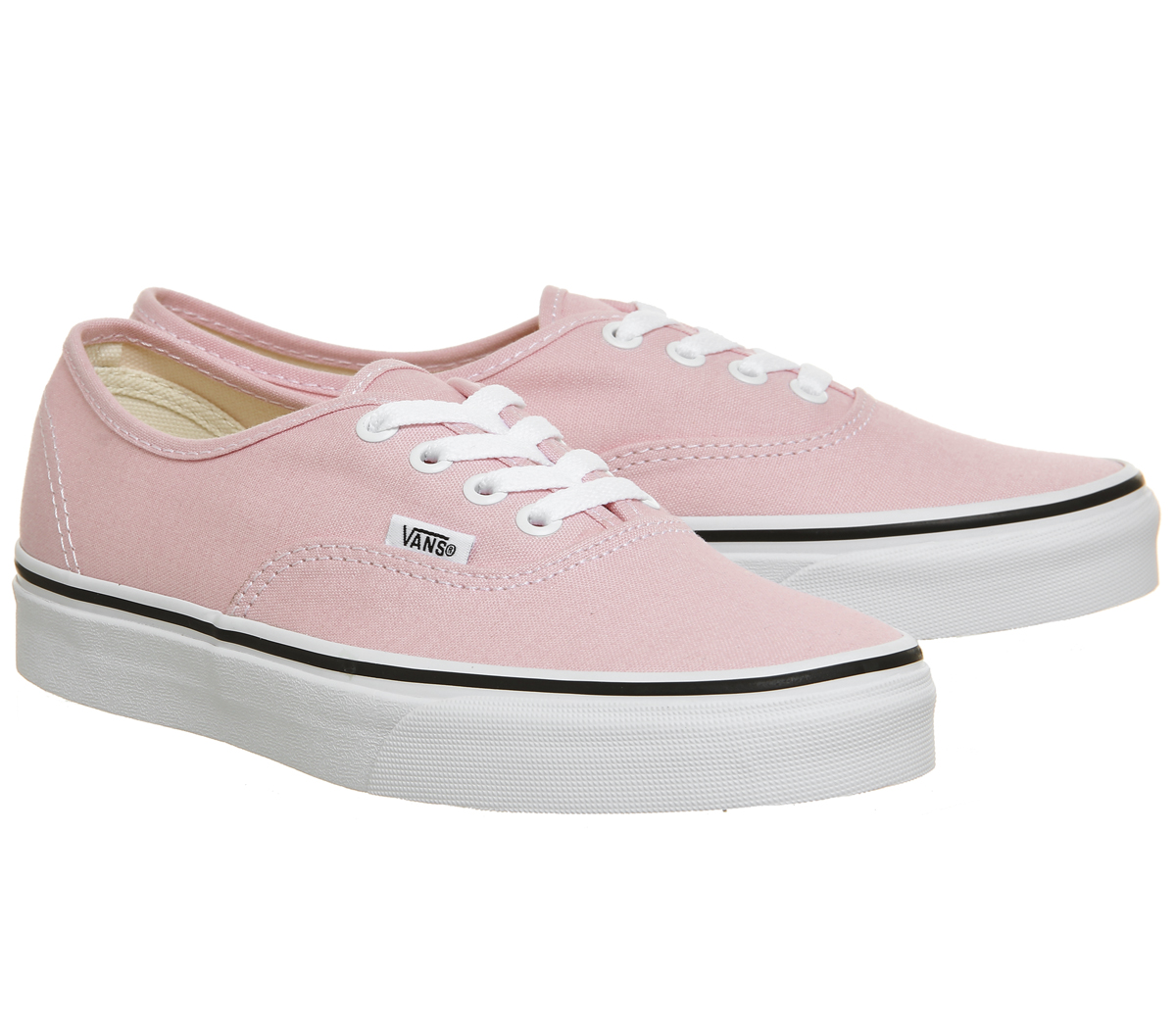 7699eb51cc0b Womens Vans Authentic Trainers CHALK PINK TRUE WHITE Trainers Shoes ...