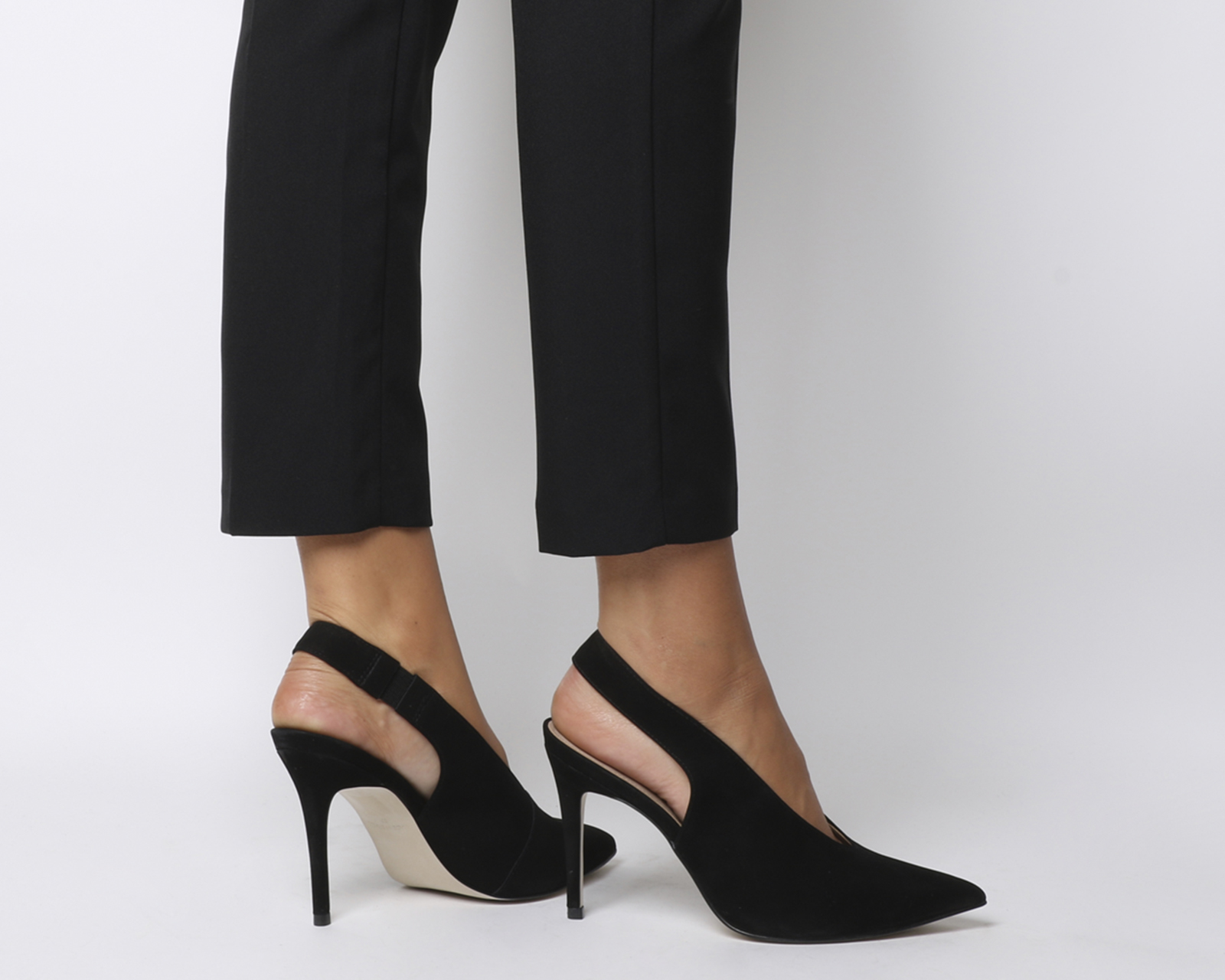 77c79136f70 Sentinel Womens Office Mistress Slingback Point Heels Black Nubuck Heels
