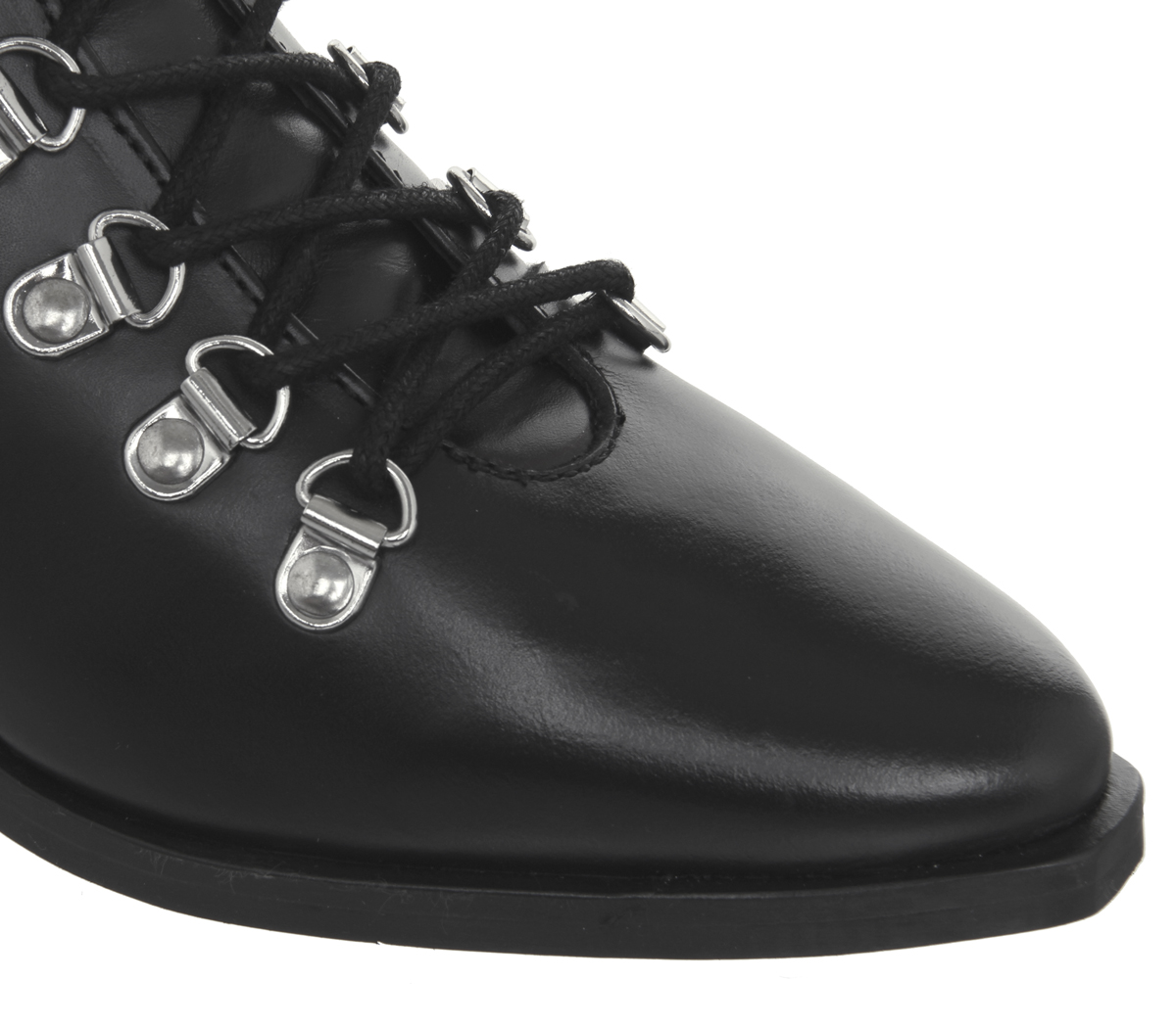 Womens-Office-Apocalypse-Lace-Detail-Point-Boots-Black-Leather-Boots thumbnail 9