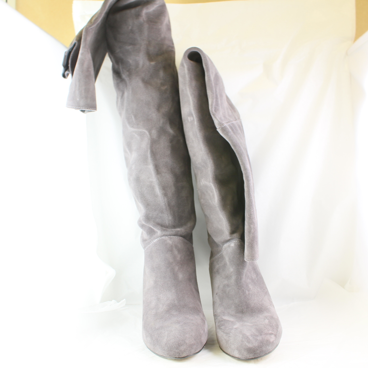 Sentinel Womens Office Nouveau 2 Thigh High Grey Suede Knee Boots Uk Size 5 Ex Display