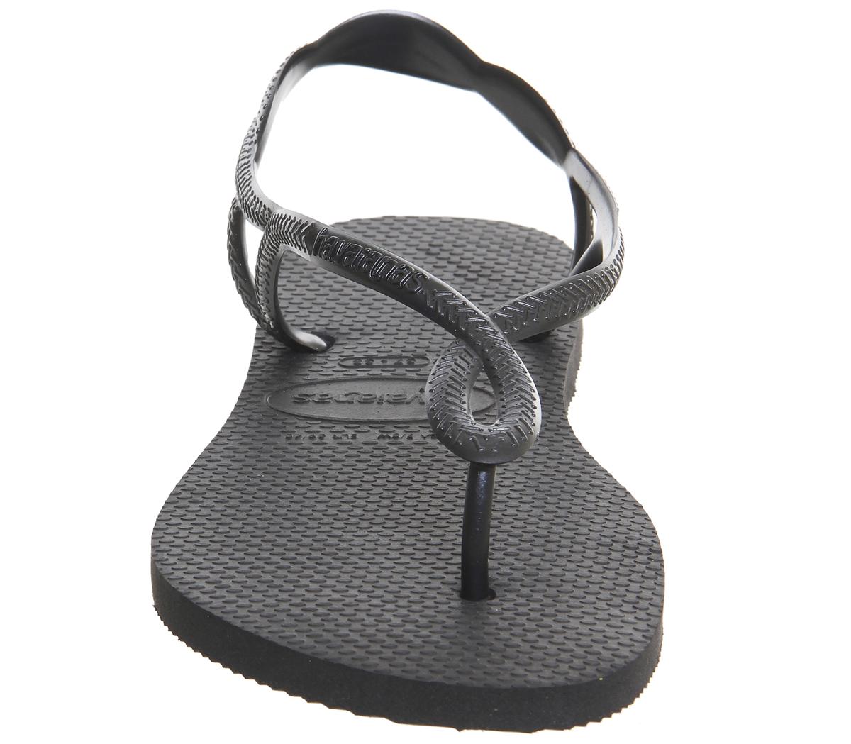 33a6990aece Womens Havaianas Luna Flip Flops Black Sandals