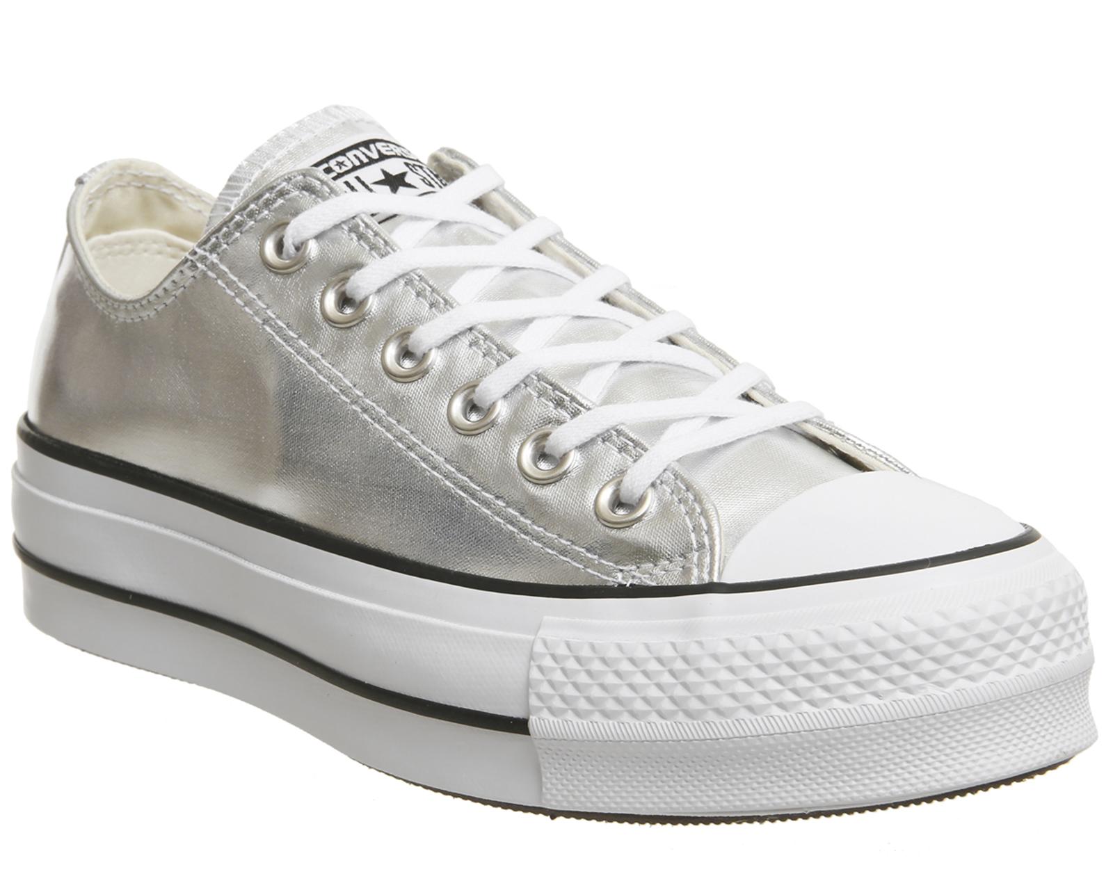adbb70e062cf Sentinel Womens Converse All Star Low Platforms Silver Black White Trainers  Shoes