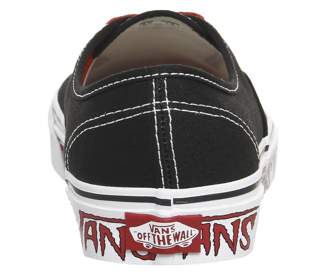 Vans Authentic Scarpe Da Ginnastica Nero Rosso Scarpe Da Ginnastica Schizzo Scarpe classiche da uomo