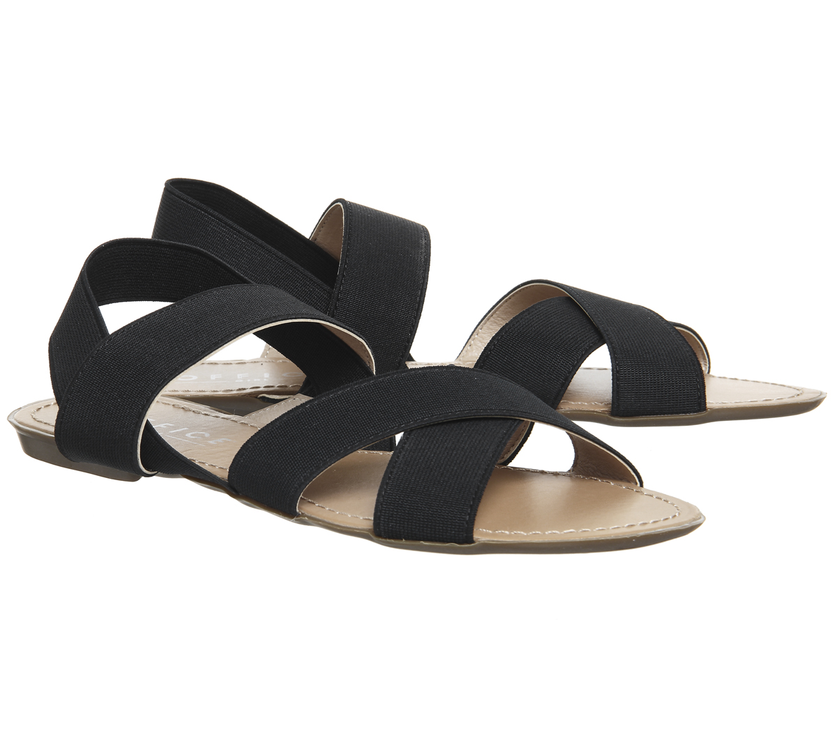 d408c703873e Womens Office Skippy Elastic Cross Strap Sandals Black Sandals