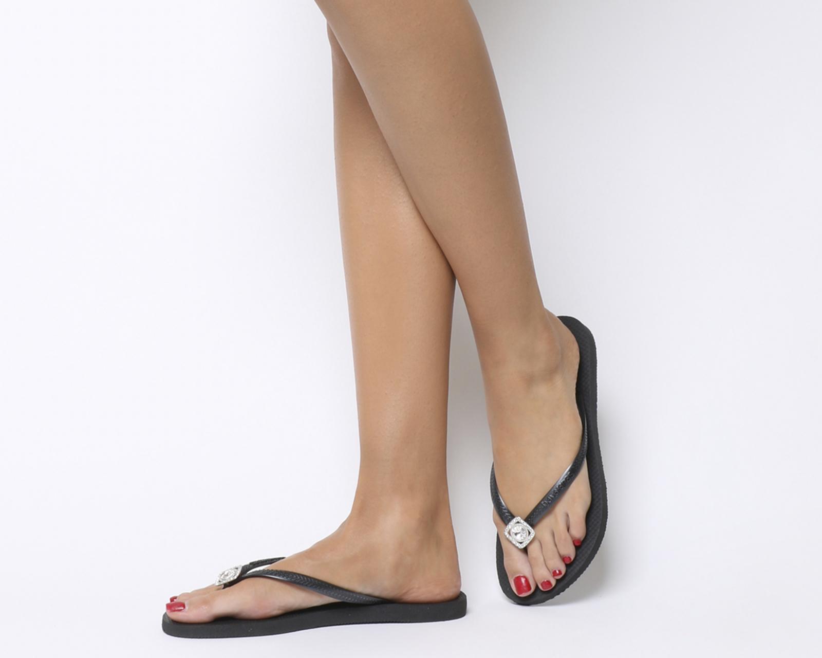 37828de6a47a Sentinel Womens Havaianas Slim Crystal Poem Flip Flops Black Sandals