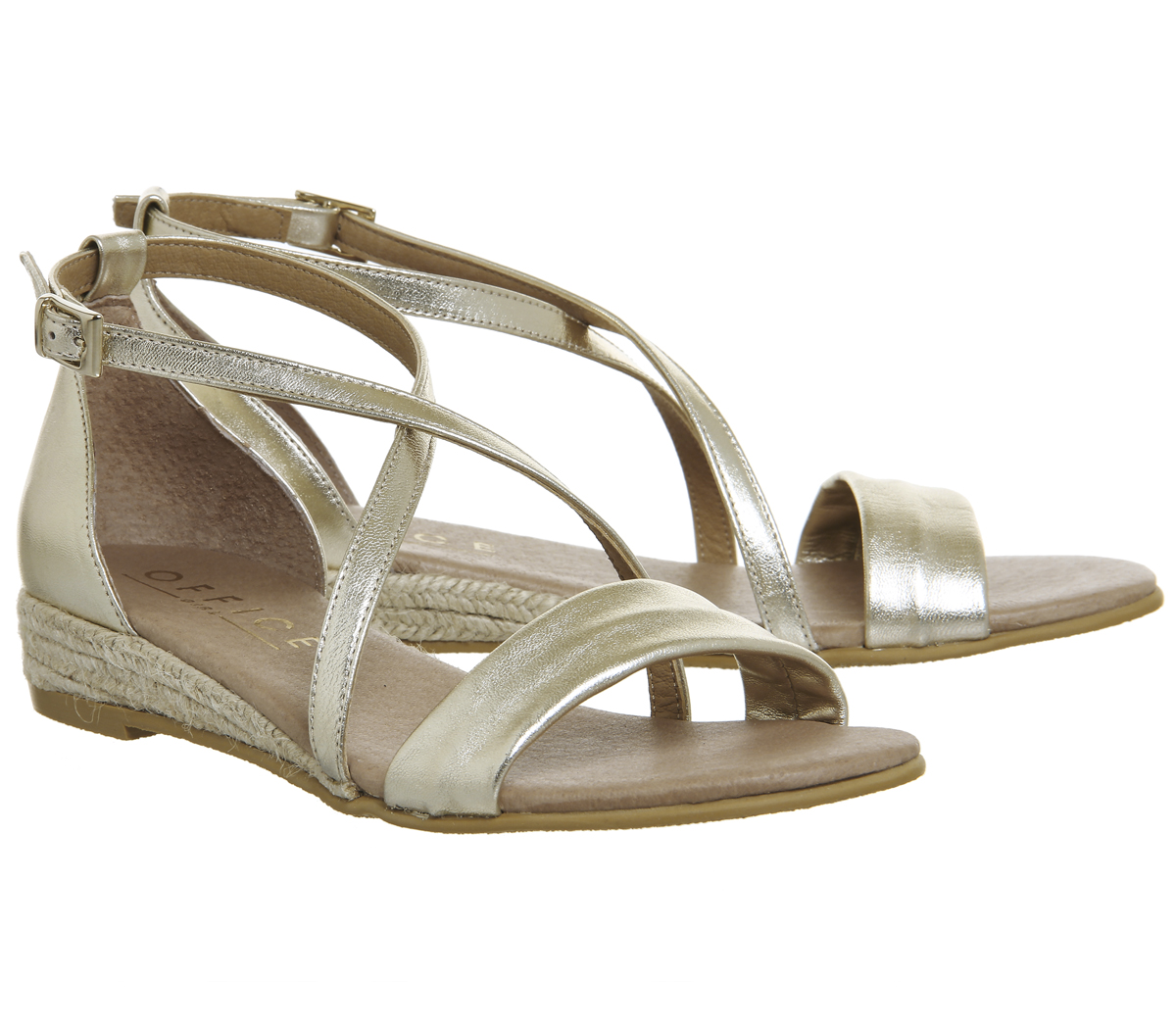 Último gran descuento Womens Office Sierra Cross Strap Sandals GOLD LEATHER Sandals