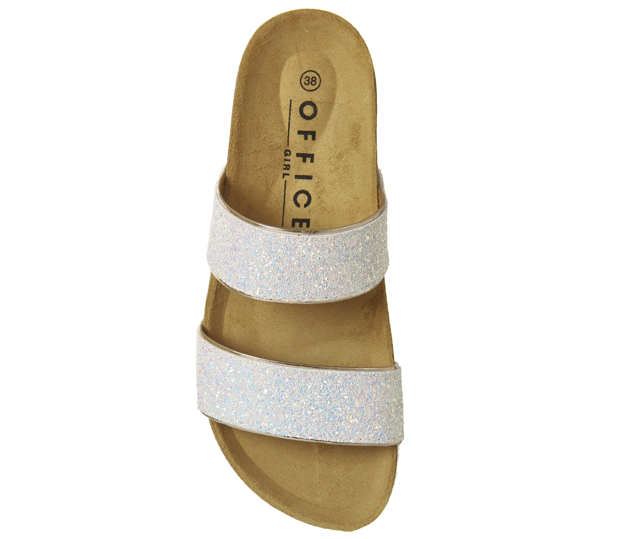 dd6c6b92b189 Womens Office Magnetic 2 Footbed Sliders Pink Glitter Sandals