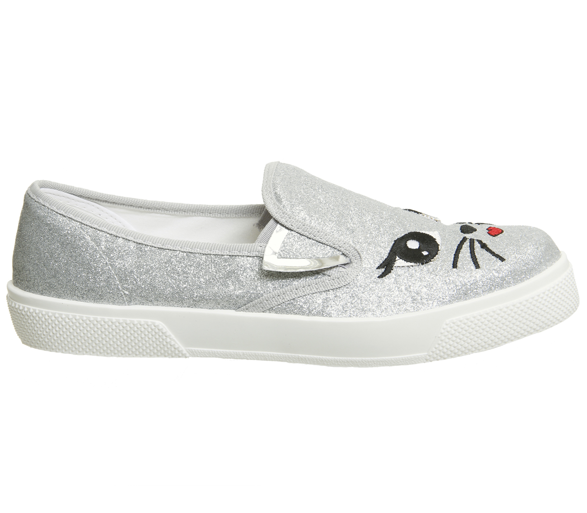 Womens Office Foxy Cat Face Slip On Trainers