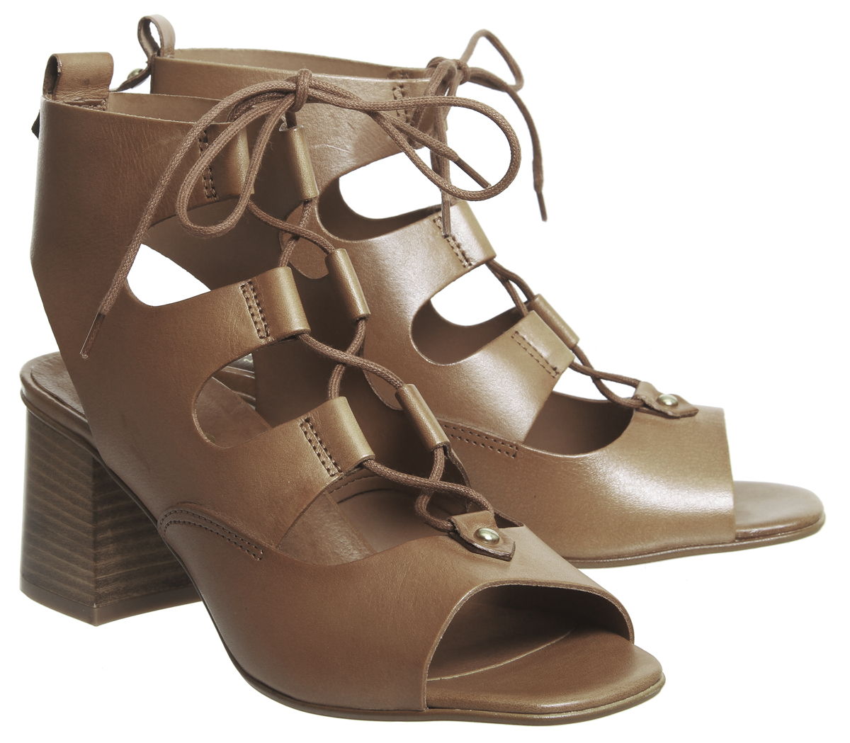 Damenschuhe Office Mallorca Ghillie Block Heels TAN LEATHER Heels
