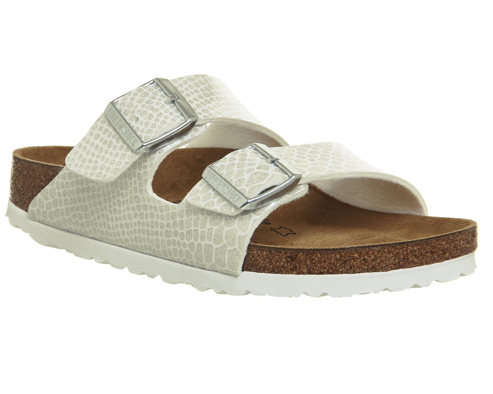 7f9cd7c4794064 WÄCHTER Womens Birkenstock Arizona zwei Riemchensandalen MAGIC SNAKE weiße  Sandalen