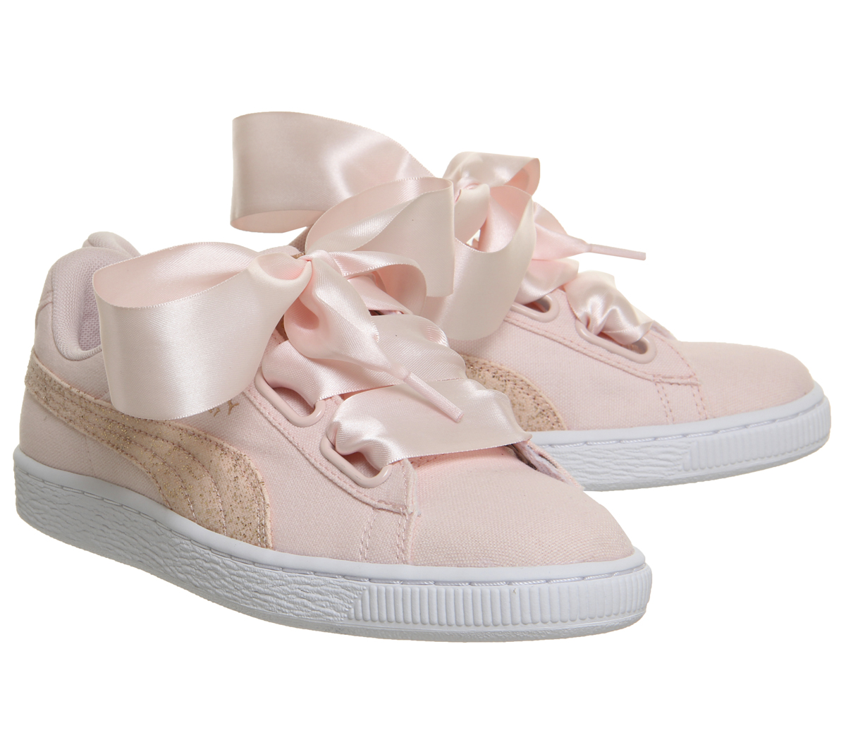 145e9b4816fa33 Womens Puma Basket Heart Canvas Trainers Pearl Puma White Rose Gold ...