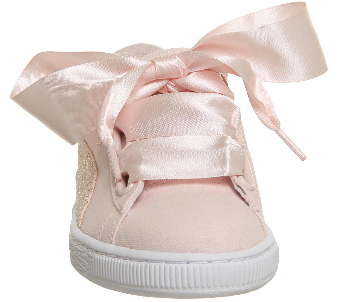 a9afe2f6c4194a Sentinel Womens Puma Basket Heart Canvas Trainers Pearl Puma White Rose  Gold Trainers Sho