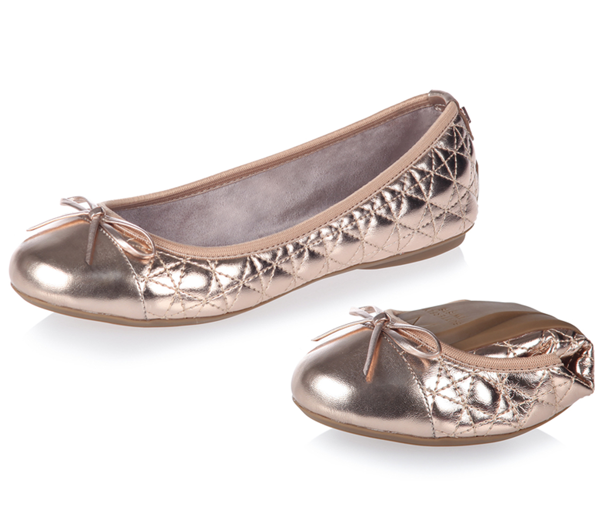 45f728c51dbd Womens Butterfly Twists Quilted Olivia 2 Pumps Rose Gold Flats