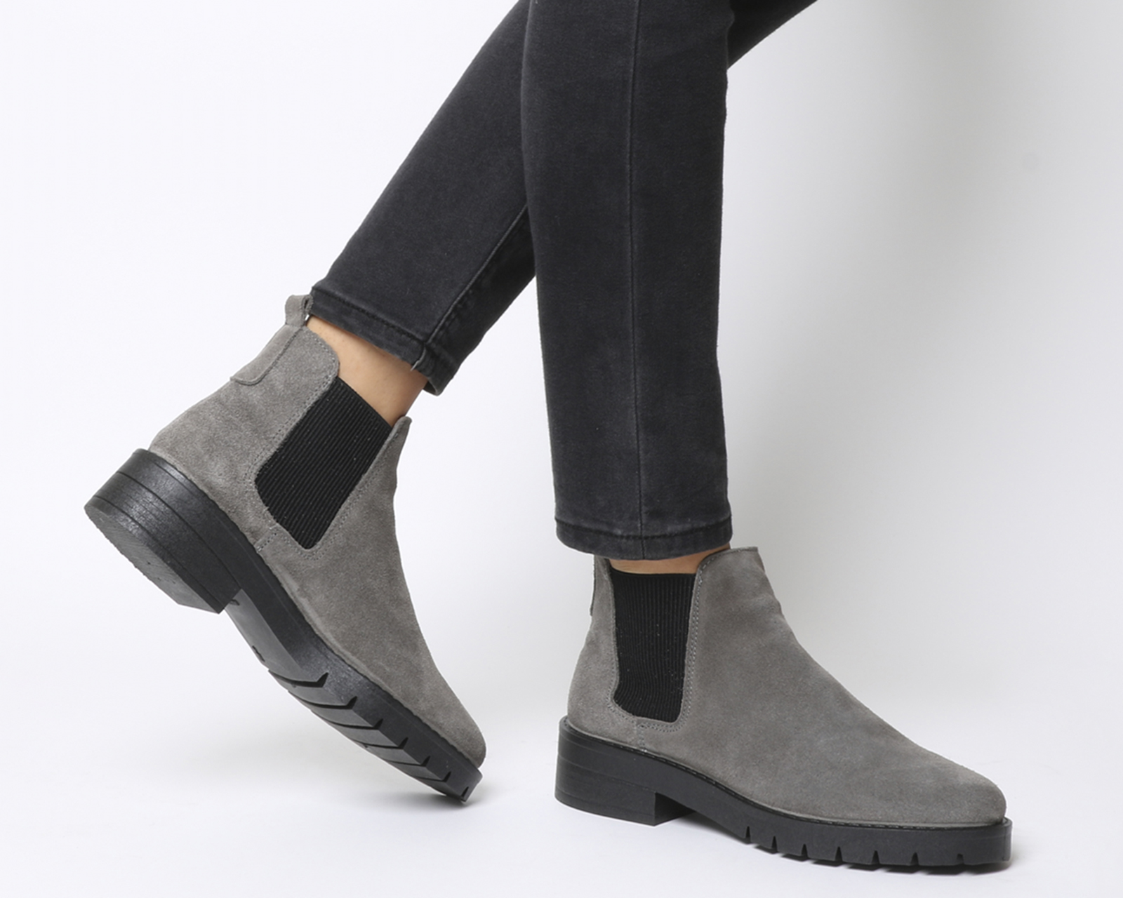 87b9dc3f7161 Sentinel Womens Office Aimee Cleated Chelsea Boots Grey Suede