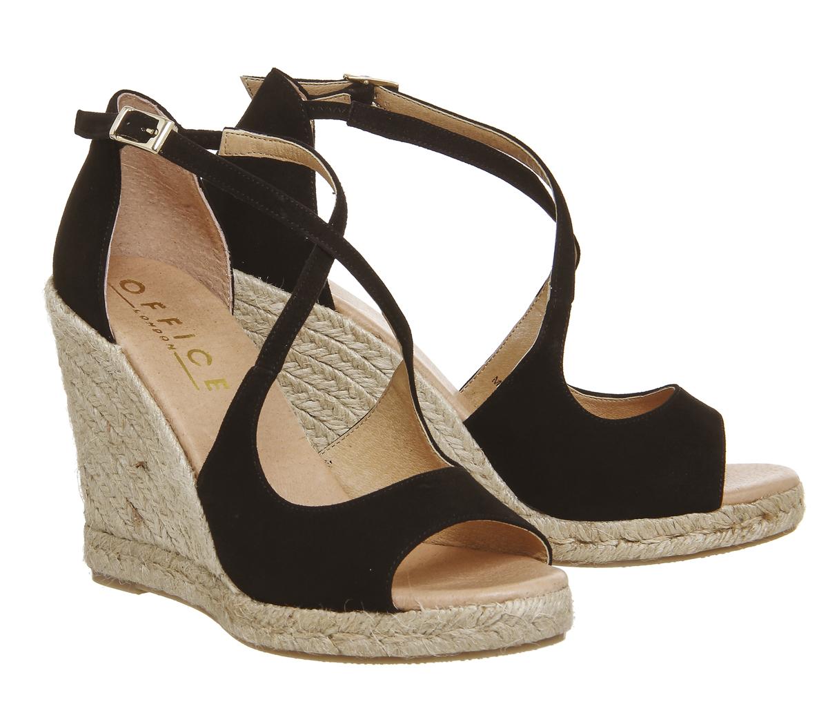 f7329953111 Details about Womens Office Halkidiki Espadrille Wedges BLACK SUEDE Heels